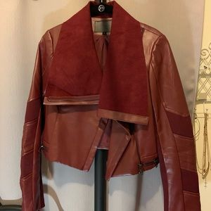 Red leather jacket cropped